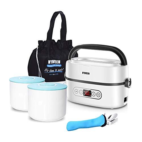 Noveen Elektrischer Multi-Lebensmittelheizer MLB-820 tragbare Lunchbox mit Digitalanzeige, herausnehmbare Keramikbehälter 2 x 0,5L Edelstahlbesteck, Transportschutzbeutel, Hitze unterwegs, 60°-Heizung