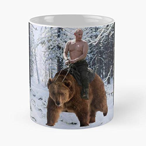 5TheWay Nature Winter Snow Putin Walk Bear Politics Russsia - Best 11 oz Kaffeebecher - Taza de café de Regalo de Moda Superventas Negra, Blanca, Cambia de Color 11 onzas, 15 onzas para Todos