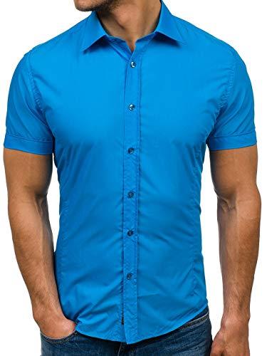 BOLF Herren Kurzarm Hemd Elegant Figurbetont Unifarbe Basic Slim Fit 7501 Türkis M [2B2]