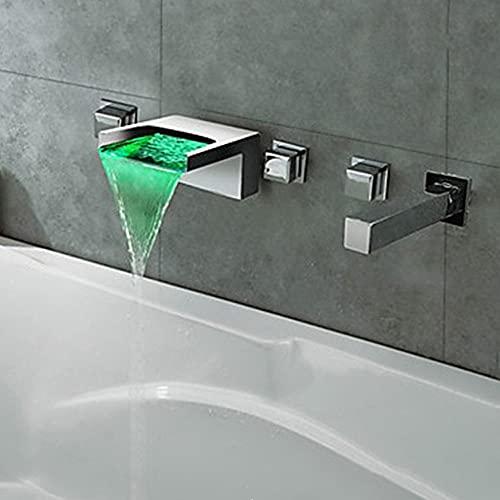 Cascada del grifo montado en la pared DIRIGIÓ Ducha grifo cubierta montado 3 handheld baños bañera de baño conjunto de ducha 5 orificios bañera sistema de grifo sistema de cascada relleno de caño Roma