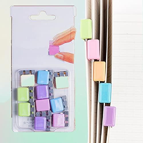 10pcs / lot Clips de carpeta de colores, Clips de papel, Juego de papelería, Clips de carpeta transparentes, Abrazaderas de papel, Clips de carpeta de color caramelo, Multifunción para libros Juego