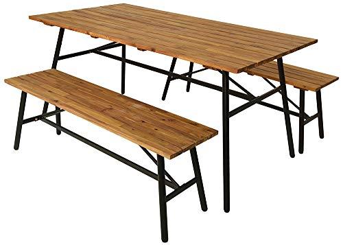 zeitzone Gartenmöbel Set Akazienholz 3-teilig Gartentisch & 2 Gartenbänke Massivholz