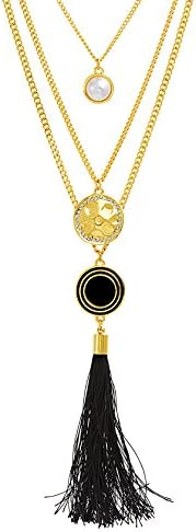 CATHERINE MALANDRINO 18 27 Inch Multi Strand Simulated Pearl Black Tassel and Hammered Disc product image