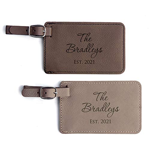 Personalized Wedding Luggage Tags Pair - Vegan Leather Wedding Bag Tags Newlyweds (Light Brown & Dark Brown)
