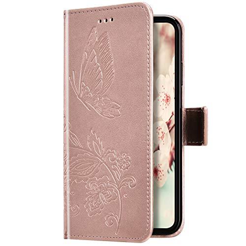 Uposao Kompatibel mit iPhone 6S 4.7 Hülle Leder Schutzhülle Schmetterling Blumen Motiv Muster Brieftasche Handyhülle Wallet Flip Case Klapphülle Tasche Magnet Kartenfächer,Rose Gold