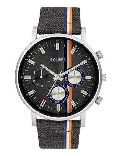s.Oliver Herren Analog Quarz Uhr mit Gewebe Armband SO-3990-LM