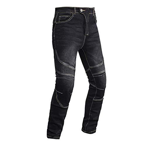 TIUTIU Pantalones Vaqueros De Moto Para Hombre, Pantalones Elásticos Transpirables Para Moto, 4 Almohadillas Protectoras Desmontables, Pantalones Resistentes A La Rotura De Moto (black,L)