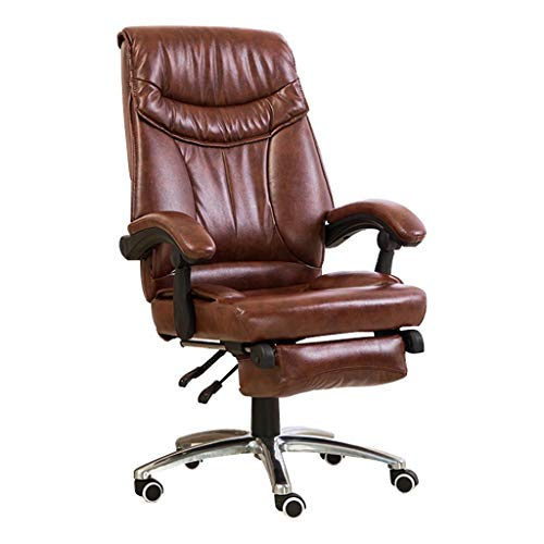 OUG-Chaise de bureau Mittagspause Reclining Computer Stuhl/Drehstuhl, Komfortables und atmungsaktives PU-Material, Silent Roller, Ergonomische Rückenlehne, Geeignet für Büro (braun)