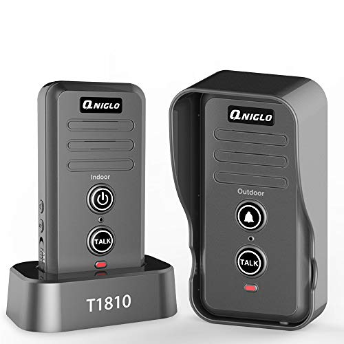 Wireless Doorbell, QNIGLO Portable IP55 Waterproof Wireless Intercom Doorbell Operating at Over 2000 Feet, Rechargeable Two Way Talk Chime Kit for Home and Office (1 Receiver&1 Push Button)