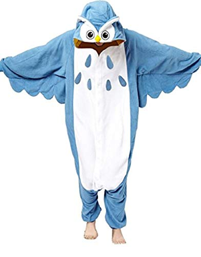 Canberries Damen Herren Jumpsuit Tier Onesie Einhorn Panda Pinguin Giraffe Pyjamas Jumpsuit Anime Cosplay Karneval Kostüm Schlafanzug Erwachsene (M, Eule)