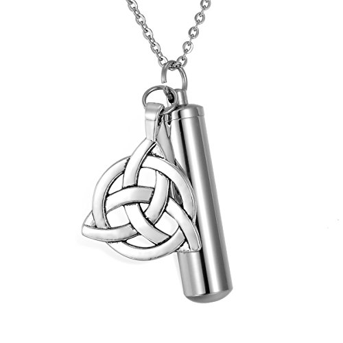 HooAMI Round Celtic Knot Cylinder Cremation Jewelry Keepsake Ash Memorial Urn Necklace Pendant
