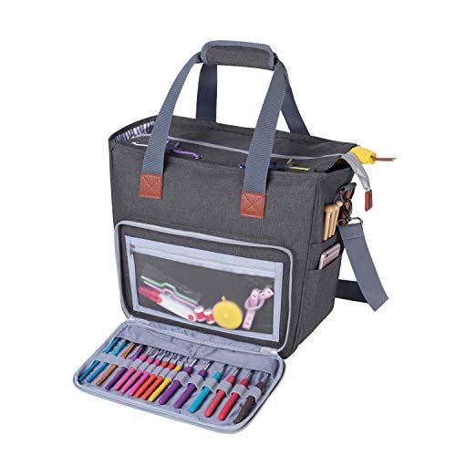 Luxja Stricktasche mit Schultergurt, Garn Tasche, Handarbeitstasche Aufbewahrung für Wolle, Projekte, Stricknadeln, Häkelnadeln und andere Zubehörs, Grau