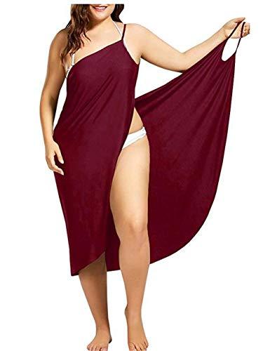 LAYAN-B Frauen V-Ausschnitt langes Kleid Sommer Strand Wickelkleid Bademantel Handtuch Reise Spa Schwimmen große Größe S-6XL
