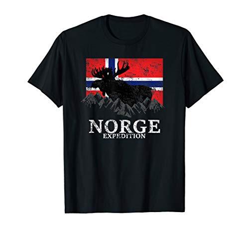 Norwegen Expedition Berge Elch Flagge T-Shirt
