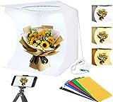 CAMOLO Photo Studio Box, carpa plegable para estudio fotográfico con 3 modos y 10 brillos ajustables, 32 cm x 31 cm x 31 cm con 3200 K ~ 6500 K Carpa portátil para estudio fotográfico con 6 fondos