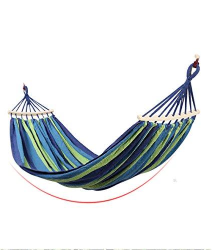 MONEYY Hamacs en Toile d'extérieur en Bois de bâton avec Une Couleur Bleu Tissu Rouge Wan,1,5 * 3m,B