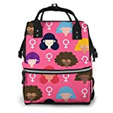 Colorful Women Pattern With Flat Design Multi-Function Travel Backpack Nappy Bag,Fashion Mummy Bag