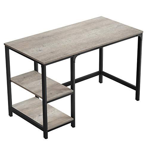 VASAGLE Schreibtisch, Computertisch, PC-Tisch, Bürotisch, mit 2 Regalebenen auf der rechten oder linken Seite, fürs Büro, Wohnzimmer, Industrie-Design, einfache Montage, Greige-schwarz LWD47MB