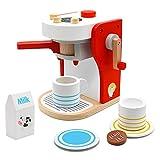 Kaffeemaschine Kinder Holz Rollenspiel Holzspielzeug Küche Haushaltsgeräte mit Tasse, Milchbox und...