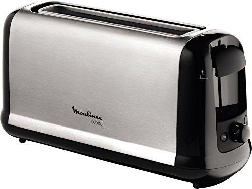 Moulinex Subito LS2608 - Tostadora 1 ranura extragrande, 1000 W y 7 ajustes/tiempo de tostado, función Stop, bandeja recoge-migas, 2 ajustes con iluminación para funciones descongelar y recalentar