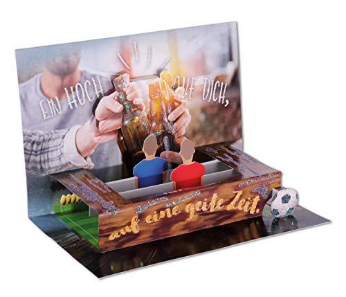 3D Pop – UP Karte Geburtstag, Geburtstagskarte 3D, POP - UP Karten, POP UP Karten Geburtstag, Geburtstagskarte lustig, DIN B6 176 x 125 mm, Motiv: Fußball