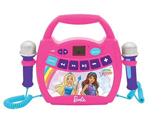 LEXIBOOK Barbie, Mi Primer Reproductor Digital Bluetooth con 2 micrófonos, inalámbrico, función Grabar, Efecto de Cambio de Voz, para niños a Partir de 3 años, Rosa, MP300BBZ