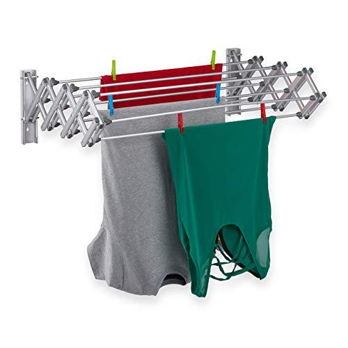 Relaxdays Tendedero para Montaje en Pared, 8 m de Cuerda de Secado, Extensible, 27 x 95 x 60 cm, Aluminio, Color Plateado