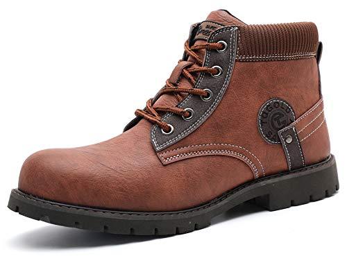 [tqgold] 安全靴 作業靴 ハイカット ブーツ 軽量 防水 革靴 鋼先芯 耐摩耗 耐滑ソール メンズ ワークマン 黒 作業 靴 仕事 工事現場 疲れない おしゃれ あんぜん靴 (ブラウン 24.5cm)