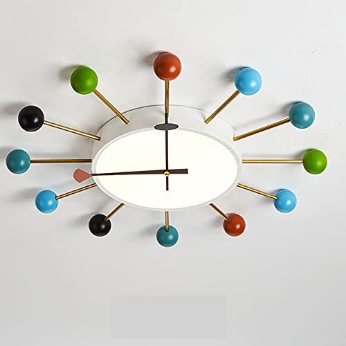Lámpara LED para niños de dibujos animados regulable con luces de techo de control remoto Luz de Techo de de metal Lámpara dormitorio color redonda lámpara de pared de salón reloj 66x6cm 48w
