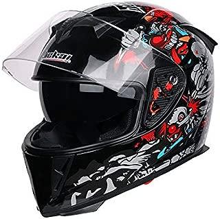 SanQing Motorcycle Helmet ATV Motorcycle Helmet SUV Helmet Motorcycle BMX MX Downhill Cross Country Mountain Bike Adult Helmet,Blackclown,M