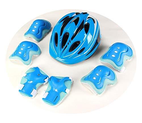 Casco de bicicleta negro para niños Juego de equipo de protección para casco de bicicleta para patinar en línea, aprender a andar en bicicleta y otros deportes al aire libre (Azul,S: 3-7 años de edad)