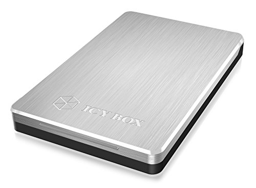 Icy Box IB-234U3a Externes Gehäuse für 2,5 Zoll (6,35 cm) SATA HDD/SSD, USB 3.0 Anschluss, Aluminium, werkzeugloser Einbau, silber/schwarz