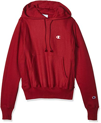 Champion LIFE Men's Reverse Weave Pullover Hoodie, Cherry Pie-Small Left Chest c, Large