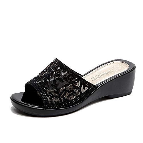 MMWW Verano Zapatillas de Baño Antideslizantes,Zapatos de la Madre del talón de la Pendiente de la Moda, Sandalias y Zapatillas Antideslizantes de la señora-Negro_38,Zapatillas de Piscina cómodas