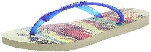 Havaianas Slim Paisage, Chanclas Mujer, Multicolor (Beige/Blue), 39/40 EU