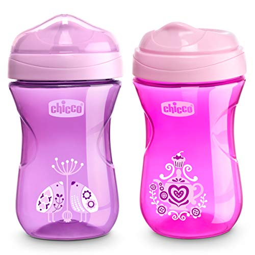 Chicco Rim Spout Trainer Spill Free Bite Poof Rim Baby Sippy Cup, 9 Months+, Pink/Purple, 9 Ounce (Pack of 2) (00007062100070)