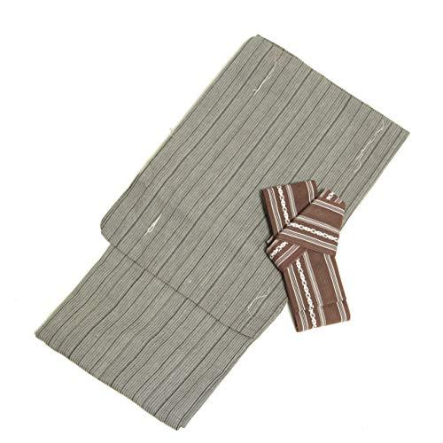 花みやび 紳士 メンズ 浴衣 角帯 セット ストライプ グレー 黒 綿 ポリエステル 男性 M L LL (LL, ブラウン)