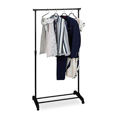 Relaxdays Verrijdbaar kledingrek, stabiele rolgarderobe met legplank, ijzer, in hoogte verstelbaar 102,5-180,5 cm, zwart, 1 stuk