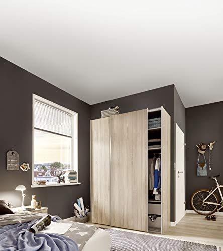 Express Möbel 34106000-760 Budget 2 2-türiger Schwebetürenschrank, Holzdekor, Eiche, Tiefe 48 cm