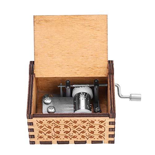 Wal front Caja de Música de Manivela de Madera, Caja de Música, Caja de Música de Madera, Grabada a Mano Vintage Regalo de Cumpleaños(Game of Thrones)