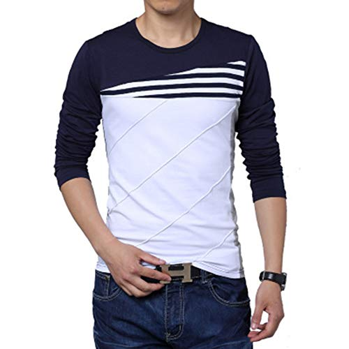 SLYZ Men's Autumn New Long-Sleeved Color Matching Round Neck Slim Fit Large Size T-Shirt Bottoming Shirt Navy