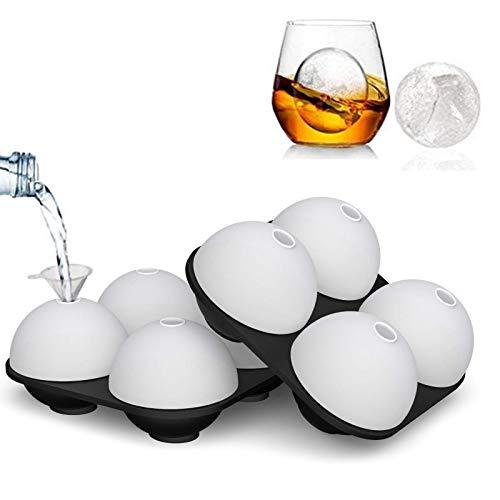 HONYAO Eiswürfelform, 6,3 cm, leicht zu lösende Eiswürfelformen, auslaufsicher, Silikon, 2 Stück, Whiskey-Eiskugel-Formen, mit separaten Deckeln und Trichter für Whiskey, Cocktails Scotch (10,2 x cm)