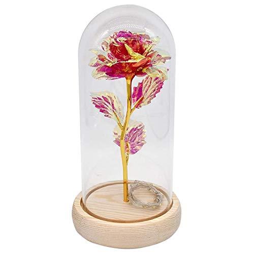 Summerwindy Galaxia Rosada Luces de Flor Rosa la Bella y la Bestia Rosa en CúPula de Cristal Infinita Flores para el DíA de la Madre Regalos de San ValentíN