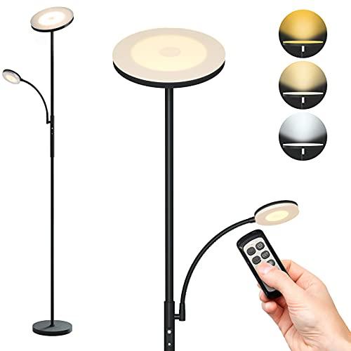 EUPYTE Stehlampe LED Dimmbar, 30W Schwarz Deckenfluter mit 7W Leselampe, 2500+500 LM Standleuchte 3 Farbtemperaturen, Fernbedienung & Touch-Mod, Stehleuchte Dimmbar für Wohnzimmer, Schlafzimmer, Büro