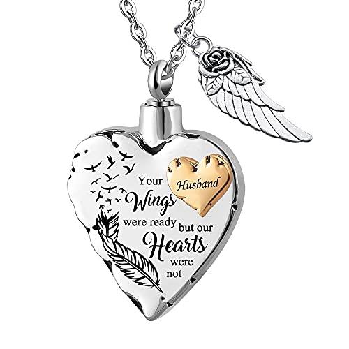 UGBJ Collar de cremación del corazón para la joyería de la cremación de Ceniza con el Collar de la urna de Las alas de ángel para el Colgante conmemorativo de Ash, Sus alas Tienen Rojo