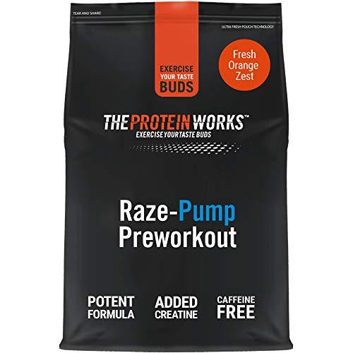 The Protein Works RAZE-Pump Preworkout Powder, Caffeine free, Beta Alanine, Creatine Monohydrate, 2:1:1 BCAAs, Fresh Orange Zest, 10 Servings, 250 g
