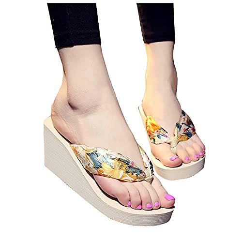 YESMAN Las mujeres de la moda flip-flops cuña playa antideslizante Bosmia zapato post zapatillas de las mujeres de la moda plataforma cuña sandalias sandalias
