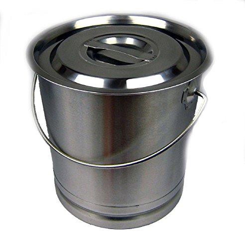 Eimer Kücheneimer Futtereimer Milcheimer Sektkühler Edelstahl 14 Liter Deckel