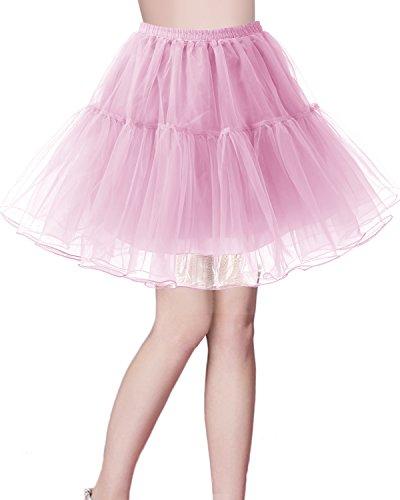 bridesmay Kurz Retro Petticoat Rock 1950er Vintage Tutu Ballett Unterkleid Rosa M