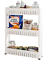 G4RCE Smukły wysuwany kuchenny uchwyt na wózek przechowywanie półka organizer przeprowadzka szafki ścienne uchwyt na wieżę stojak na kółkach 3 poziomy i 4 poziomy